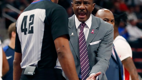 <p>               Detroit Pistons head coach Dwane Casey, right, argues a call with referee Eric Lewis (42) during the first half of an NBA basketball game against the Cleveland Cavaliers, Thursday, Oct. 25, 2018, in Detroit. (AP Photo/Carlos Osorio)             </p>