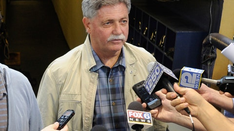 <p>               FILE - In this Sept. 27, 2014, file photo, then-Milwaukee Brewers general manager Doug Melvin speaks to the media before a baseball game against the Chicago Cubs in Milwaukee. Melvin is one of three finalists in contention to become general manager of the New York Mets. (AP Photo/Benny Sieu, File)             </p>