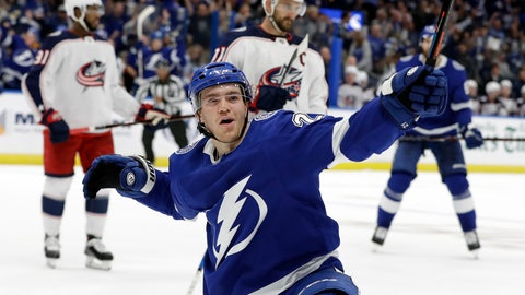 <p>               Tampa Bay Lightning center Brayden Point (21) celebrates his goal against the Columbus Blue Jackets during the second period of an NHL hockey game Saturday, Oct. 13, 2018, in Tampa, Fla. (AP Photo/Chris O'Meara)             </p>