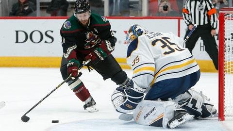 <p>               Buffalo Sabres goaltender Linus Ullmark (35) makes a save against Arizona Coyotes center Derek Stepan in the second period during an NHL hockey game, Saturday, Oct. 13, 2018, in Glendale, Ariz. (AP Photo/Rick Scuteri)             </p>