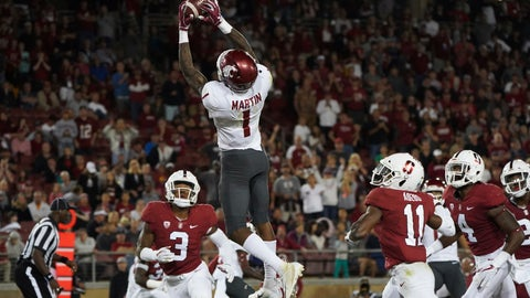 <p>               Washington State wide receiver Davontavean Martin (1) scores a touchdown in the second half against Stanford during an NCAA college football game on Saturday, Oct. 27, 2018, in Stanford, Calif. (AP Photo/Don Feria)             </p>