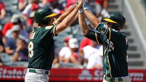 <p>               Oakland Athletics Stephen Piscotty, right, and Matt Olson celebrate as both score on Piscotty's home run against the Los Angeles Angels in the second inning of a baseball game in Anaheim, Calif., Sunday, Sept. 30, 2018. (AP Photo/Reed Saxon)             </p>