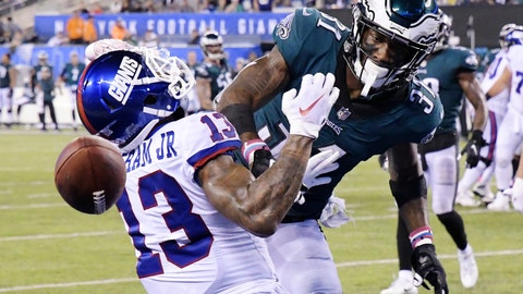 <p>               Philadelphia Eagles' Jalen Mills (31) defends against New York Giants' Odell Beckham (13) during the second half of an NFL football game Thursday, Oct. 11, 2018, in East Rutherford, N.J. The Eagles won 34-13. (AP Photo/Bill Kostroun)             </p>