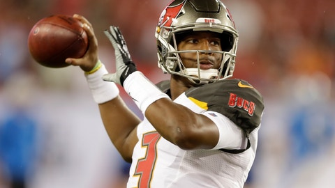 <p>               FILE - In this Aug. 24, 2018 file photo, Tampa Bay Buccaneers quarterback Jameis Winston throws a pass before an NFL preseason football game against the Detroit Lions in Tampa, Fla. Winston is working off the rust and preparing for his first start for the Buccaneers since serving a three-game suspension for violating the NFL's personal conduct policy.(AP Photo/Chris O'Meara, File)             </p>