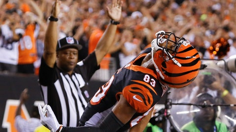 <p>               FILE - In this Sept. 13, 2018, file photo, Cincinnati Bengals wide receiver Tyler Boyd (83) celebrates after scoring a touchdown in the first half of an NFL football game against the Baltimore Ravens,  in Cincinnati. Boyd was a disappointment in his first two seasons, starting only three games and scoring only three touchdowns. He's emerged as the Bengals' leading receiver during their 3-1 start. (AP Photo/Frank Victores, File)             </p>