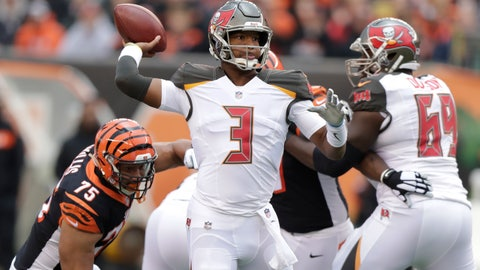 <p>               Tampa Bay Buccaneers quarterback Jameis Winston (3) looks to throw against the Cincinnati Bengals during the first half of an NFL football game in Cincinnati, Sunday, Oct. 28, 2018. (AP Photo/Michael Conroy)             </p>