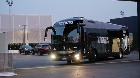 <p>               Juventus soccer team bus leaves for Udine after completing a training session at the Juventus training center in Turin, Italy, Friday, Oct. 5, 2018. Ronaldo, who is facing a rape allegation in the United States, could play when Juventus faces Udinese in the Italian league, according to coach Massimiliano Allegri. (AP Photo/Luca Bruno)             </p>