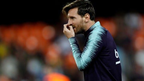 <p>               Barcelona forward Lionel Messi before the Spanish La Liga soccer match between Valencia and Barcelona, at the Mestalla stadium in Valencia, Spain, Sunday, Oct. 7, 2018. (AP Photo/Alberto Saiz)             </p>