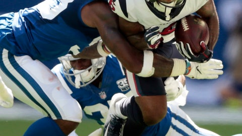 <p>               Houston Texans wide receiver Keke Coutee (16) is tackled by Indianapolis Colts' Darius Leonard during the first half of an NFL football game, Sunday, Sept. 30, 2018, in Indianapolis. (AP Photo/AJ Mast)             </p>