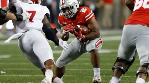 <p>               Ohio State running back J.K. Dobbins, right, cuts upfield in front of Indiana linebacker Reakwon Jones during the second half of an NCAA college football game Saturday, Oct. 6, 2018, in Columbus, Ohio. (AP Photo/Jay LaPrete)             </p>