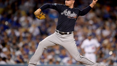 <p>               Atlanta Braves pitcher Sean Newcomb throws to a Los Angeles Dodgers batter during the third inning of Game 1 of a baseball National League Division Series on Thursday, Oct. 4, 2018, in Los Angeles. (AP Photo/Mark J. Terrill)             </p>