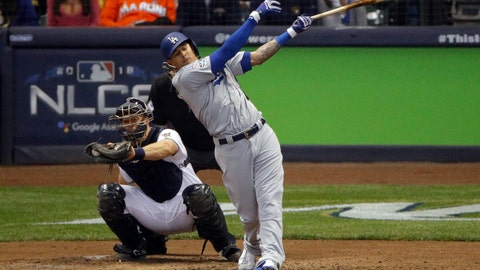 <p>               Los Angeles Dodgers' Manny Machado (8) strikes out during the fifth inning of Game 6 of the National League Championship Series baseball game against the Milwaukee Brewers Friday, Oct. 19, 2018, in Milwaukee. (AP Photo/Charlie Riedel)             </p>