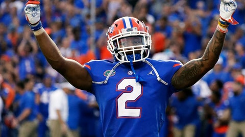 <p>               Florida defensive back Brad Stewart Jr. celebrates in front of fans after intercepting an LSU pass during the second half of an NCAA college football game Saturday, Oct. 6, 2018, in Gainesville, Fla. (AP Photo/John Raoux)             </p>