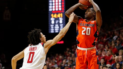 <p>               FILE - In this Feb. 25, 2018, file photo, Illinois guard Da'Monte Williams (20) shoots over Rutgers guard Geo Baker (0) during the first half of an NCAA college basketball, in Piscataway, N.J. Second-year coach Brad Underwood is counting on a youth movement built around two four-star recruits and the reconstructed knee of highly touted sophomore guard Da'Monte Williams to resurrect an Illinois basketball program that posted a disappointing 14-18 record with only four Big Ten wins season a year ago. (AP Photo/Adam Hunger, File)             </p>