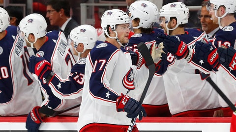 <p>               Columbus Blue Jackets' Brandon Dubinsky (17) celebrates his goal against the Detroit Red Wings during the second period of an NHL hockey game Thursday, Oct. 4, 2018, in Detroit. (AP Photo/Paul Sancya)             </p>
