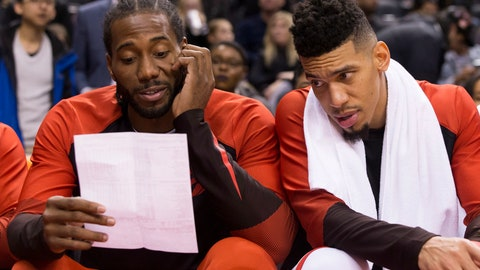 <p>               Toronto Raptors' Kawhi Leonard, left, and Danny Green look at a stats sheet during the second half of an NBA basketball exhibition game against Melbourne on Friday, Oct. 5, 2018, in Toronto. (Chris Young/The Canadian Press via AP)             </p>