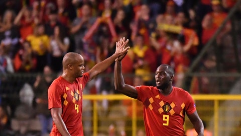 <p>               Belgium's Romelu Lukaku, right, celebrates with teammate Vincent Kompany after scoring his side's second goal during the UEFA Nations League soccer match between Belgium and Switzerland at the King Baudouin stadium in Brussels, Friday, Oct. 12, 2018. (AP Photo/Geert Vanden Wijngaert)             </p>