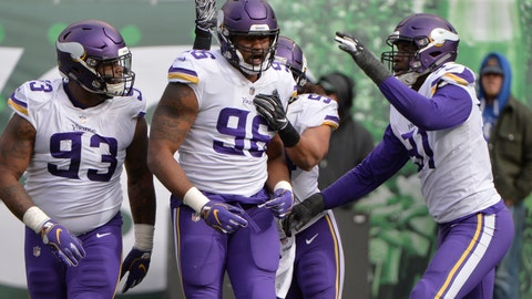 <p>               Minnesota Vikings defensive tackle Tom Johnson (96) celebrates with teammates Sheldon Richardson (93) and Stephen Weatherly (91) after tackling New York Jets' Isaiah Crowell near the goal line during the first half of an NFL football game Sunday, Oct. 21, 2018, in East Rutherford, N.J. (AP Photo/Howard Simmons)             </p>