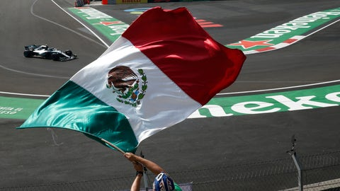 <p>               Mercedes driver Lewis Hamilton, from Great Britain, drives in a practice run for the upcoming Formula One Mexico Grand Prix auto race, at the Hermanos Rodriguez racetrack in Mexico City, Friday, Oct. 26, 2018. (AP Photo/Marco Ugarte)             </p>