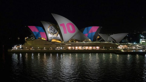 <p>               This image provided by Racing NSW shows an artist's impression of how horse race advertising will look on  the Sydney Opera House. A plan to project a horse racing advertisement on the famed sails of the Sydney Opera House is dividing Australians. (Racing NSW via AP)             </p>