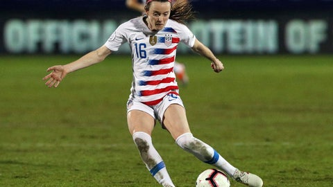 <p>               USA midfielder Rose Lavelle takes a shot on goal in the first half of the finals of the CONCACAF Women's soccer Championship on Wednesday, Oct. 17, 2018, in Frisco, Texas. (AP Photo/Richard W. Rodriguez)             </p>