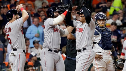 <p>               Boston Red Sox's Rafael Devers, right, celebrates his three-run home run against the Houston Astros during the sixth inning in Game 5 of a baseball American League Championship Series on Thursday, Oct. 18, 2018, in Houston.(AP Photo/David J. Phillip)             </p>