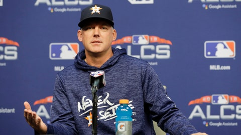 <p>               Houston Astros manager AJ Hinch speaks during a news Monday, Oct. 15, 2018, in Houston. The Astros will face the Boston Red Sox in Game 3 of the baseball American League Championship Series Tuesday Oct. 16 2018. (AP Photo/Frank Franklin II)             </p>