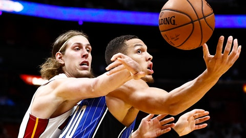 <p>               Orlando Magic forward Aaron Gordon, right, loses possession of the ball against Miami Heat forward Kelly Olynyk in the second quarter of a preseason NBA basketball game in Miami, Monday, Oct. 8, 2018. (AP Photo/Brynn Anderson)             </p>