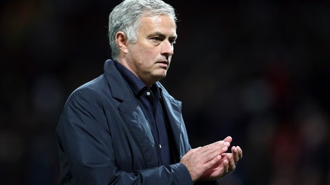 <p>               ManU coach Jose Mourinho leaves the field at the end of the Champions League group H soccer match between Manchester United and Valencia at Old Trafford Stadium in Manchester, England, Tuesday Oct. 2, 2018. (AP Photo/Jon Super)             </p>