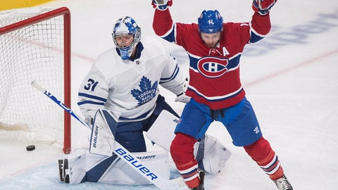 <p>               Montreal Canadiens' Brendan Gallagher reacts to a goal by teammate Tomas Tatar against Toronto Maple Leafs goaltender Frederik Andersen during the first period of an NHL hockey preseason game Wednesday, Sept. 26, 2018, in Montreal. (Graham Hughes/The Canadian Press via AP)             </p>