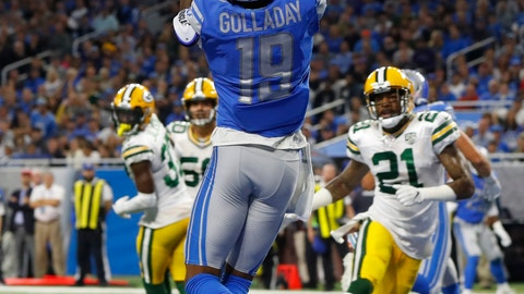 <p>               Detroit Lions wide receiver Kenny Golladay (19) pulls in 5-yard pass for a touchdown during the second half of an NFL football game against the Green Bay Packers, Sunday, Oct. 7, 2018, in Detroit. (AP Photo/Paul Sancya)             </p>