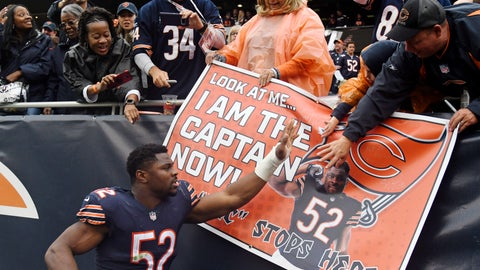 <p>               FILE - In this Sunday, Sept. 30, 2018, file photo, Chicago Bears linebacker Khalil Mack (52) celebrates with fans after the Bears defeated the Tampa Bay Buccaneers 48-10 in an NFL football game  in Chicago. The Bears rolled into their bye week with their most lopsided victory in six seasons and sole possession of the NFC North lead for the first time in five years. For a team long buried at the bottom of the division, it's a different look. (AP Photo/David Banks, File)             </p>