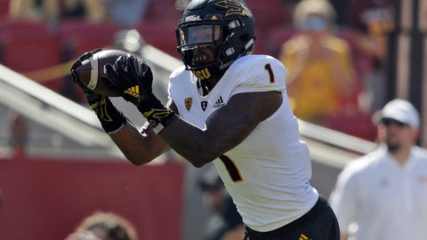 <p>               Arizona State wide receiver N'Keal Harry makes a touchdown catch against Southern California during the first half of an NCAA college football game Saturday, Oct. 27, 2018, in Los Angeles. (AP Photo/Marcio Jose Sanchez)             </p>