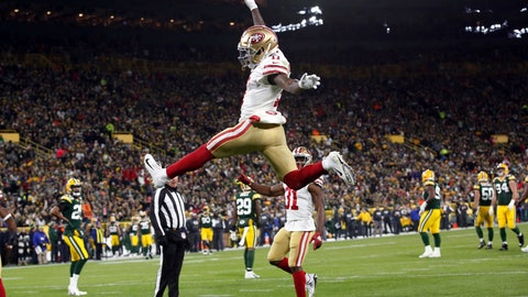 <p>               San Francisco 49ers wide receiver Marquise Goodwin (11) celebrates a touchdown during the first half of an NFL football game against the Green Bay Packers Monday, Oct. 15, 2018, in Green Bay, Wis. (AP Photo/Matt Ludtke)             </p>