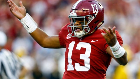 <p>               Alabama quarterback Tua Tagovailoa (13) gestures after throwing a touchdown pass during the first half against Missouri in an NCAA college football game Saturday, Oct. 13, 2018, in Tuscaloosa, Ala. (AP Photo/Butch Dill)             </p>