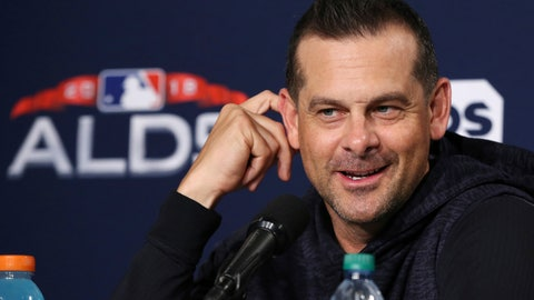<p>               New York Yankees manager Aaron Boone speaks to reporters at Fenway Park, Thursday, Oct. 4, 2018, in Boston. The Yankees are scheduled to face the Boston Red Sox in Game 1 of a baseball AL Division Series on Friday. (AP Photo/Elise Amendola)             </p>