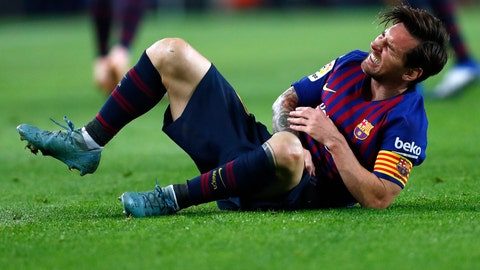 <p>               FC Barcelona's Lionel Messi reacts during the Spanish La Liga soccer match between FC Barcelona and Sevilla at the Camp Nou stadium in Barcelona, Spain, Saturday, Oct. 20, 2018. (AP Photo/Manu Fernandez)             </p>