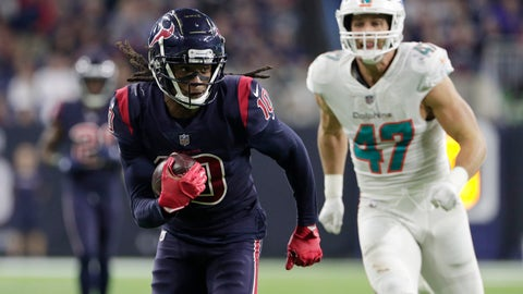 <p>               Houston Texans wide receiver DeAndre Hopkins (10) scores a touchdown past Miami Dolphins linebacker Kiko Alonso (47) on a 49-yard catch during the second half of an NFL football game, Thursday, Oct. 25, 2018, in Houston. (AP Photo/Michael Wyke)             </p>