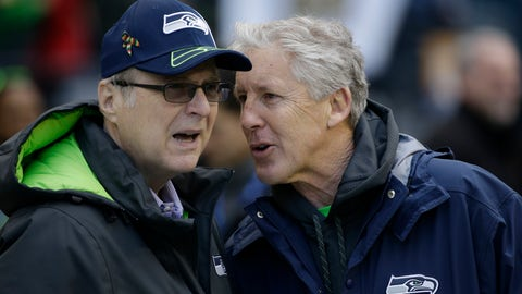<p>               FILE--In this Jan. 18, 2015, file photo, Seattle Seahawks owner Paul Allen, left, talks to head coach Pete Carroll before the NFL football NFC Championship game against the Green Bay Packers in Seattle. Championship game in Seattle. The Billionaire Seahawks owner and Microsoft co-founder says cancer he was treated for in 2009 has returned. (AP Photo/David J. Phillip, file)             </p>