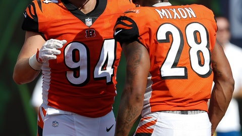 <p>               Cincinnati Bengals defensive end Sam Hubbard (94) celebrates his touchdown on a fumble return with running back Joe Mixon (28) during the second half of an NFL football game against the Miami Dolphins in Cincinnati, Sunday, Oct. 7, 2018. (AP Photo/Frank Victores)             </p>