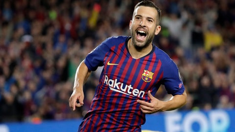 <p>               Barcelona defender Jordi Alba celebrates after scoring his side's second goal during the Champions League, Group B soccer match between Barcelona and Inter Milan, at the Nou Camp in Barcelona, Spain, Wednesday, Oct. 24, 2018. (AP Photo/Emilio Morenatti)             </p>