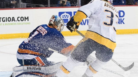 <p>               Nashville Predators left wing Viktor Arvidsson (33) scores a goal past New York Islanders goaltender Thomas Greiss (1) during the first period of an NHL hockey game, Saturday, Oct. 6, 2018, in New York. (AP Photo/Mary Altaffer)             </p>