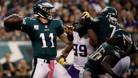 <p>               Philadelphia Eagles' Carson Wentz prepares to pass during the second half of an NFL football game against the Minnesota Vikings, Sunday, Oct. 7, 2018, in Philadelphia. (AP Photo/Matt Rourke)             </p>
