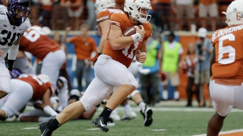 <p>               FILE - In this Sept. 22, 2018, file photo, Texas quarterback Sam Ehlinger (11) runs for a two-yard touchdown against TCU during the second half of an NCAA college football game,  in Austin, Texas. To see the progress in Texas, look no further than quarterback Sam Ehlinger. The sophomore is quietly putting together the kind of season that earns a spot in the record book and wins a lot of games. (AP Photo/Eric Gay, File)             </p>