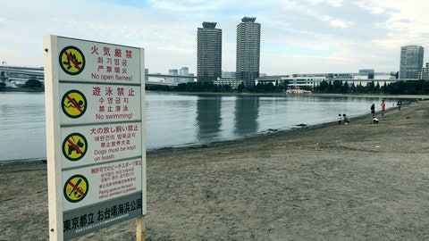 """<p>               This Oct. 3, 2018, photo, shows a view of the beach at Odaiba Marine Park in Tokyo with a """"no swimming"""" sign displayed. Tokyo 2020 Olympic organizers say a system of layered screens will be used to keep bacteria levels within """"agreed limits"""" for triathlon and marathon swimming in heavily trafficked Tokyo bay. (AP Photo/Stephen Wade)             </p>"""