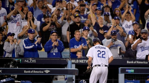 <p>               Fans cheer as Los Angeles Dodgers starting pitcher Clayton Kershaw leaves the game during the ninth inning of Game 2 of a baseball National League Division Series against the Atlanta Braves on Friday, Oct. 5, 2018, in Los Angeles. (AP Photo/Mark J. Terrill)             </p>