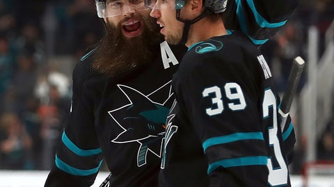 <p>               San Jose Sharks' Logan Couture (39) celebrates with Brent Burns, left, after scoring a goal against the Buffalo Sabres during the first period of an NHL hockey game Thursday, Oct. 18, 2018, in San Jose, Calif. (AP Photo/Ben Margot)             </p>