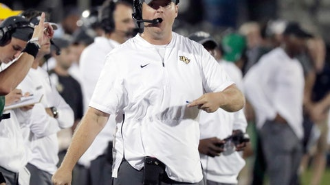 <p>               FILE - In this Sept. 21, 2018, file photo, Central Florida coach Josh Heupel directs his team against Florida Atlantic during the second half of an NCAA college football game, in Orlando, Fla. Heupel wants his Knights ready for their first road game in a month, against Memphis. (AP Photo/John Raoux, File)             </p>