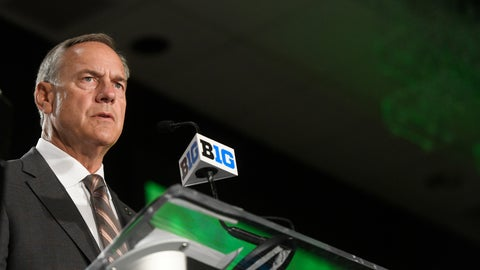 "<p>               FILE - In this July 24, 2018 file photo Michigan State head coach Mark Dantonio speaks at the Big Ten Conference NCAA college football Media Days in Chicago.  It has been an uneven start to the season for the 20th-ranked Spartans, but there's one area in which they've excelled. Michigan State ranks No. 1 in the country in run defense, and it's not particularly close. The Spartans' ability to limit teams on the ground has been one of the biggest factors in their success over the past several years, and this season appears to be no different. ""We're building a wall, we're not getting knocked off the ball, we're tackling well,"" Dantonio said Tuesday, Oct. 2, 2018. (AP Photo/Annie Rice, file)             </p>"