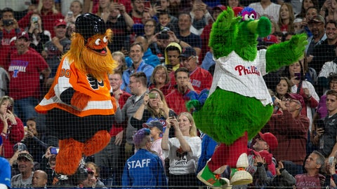 <p>               FILE - In this Sept. 29, 2018, file photo, Gritty, the Philadelphia Flyers' mascot, left, and the Philly Phanatic dance during a baseball game between the Philadelphia Phillies and the Atlanta Braves, in Philadelphia. Gritty's been loved and lampooned, swept into politics and become the orange face that launched a 1,000 memes. There's little need to play 82 games this season to find the NHL rookie of the year: it's Gritty.  (AP Photo/Laurence Kesterson, File)             </p>